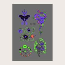 1 Blatt leuchtender Tattoo Aufkleber mit Tier Muster