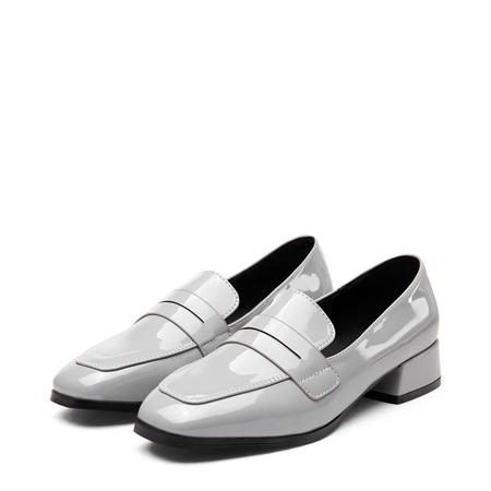 Yoins Grey Classic Leather Look Square Toe Slip-on Loafers