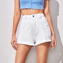 White Wash Raw Hem Denim Shorts
