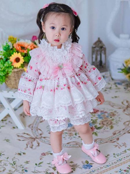 Milanoo Kids Lolita Dress Lace Ruffles Flower Girl Dress
