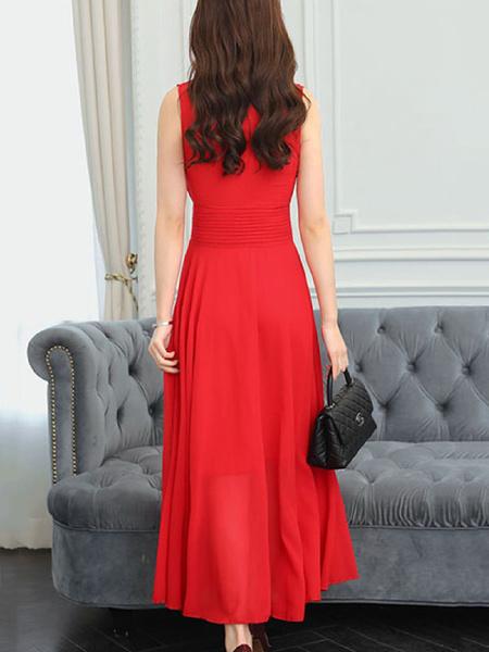Milanoo Chiffon Maxi Dress V Neck Sleeveless Swing Dress Women Beach Dress