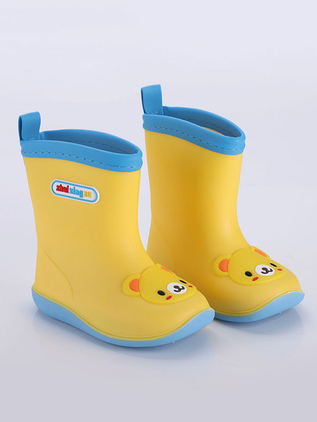Milanoo Kids Rain Boots Boys Girls Children Round Toe Cute Cartoon Cat Bear Rain Shoes