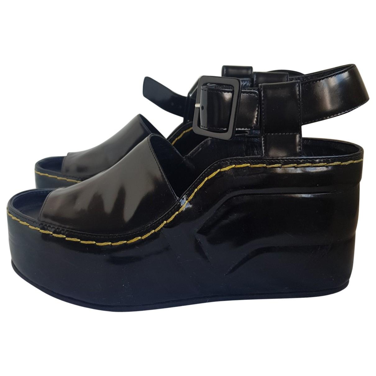 Celine \N Black Patent leather Sandals for Women 40 IT