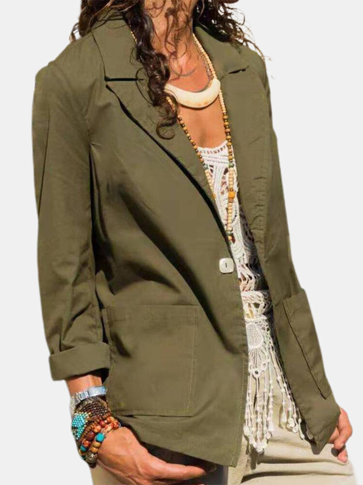 Solid Color Long Sleeve Turn-down Collar Blazer For Women