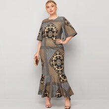 Plus Baroque And Polka Dot Mermaid Dress