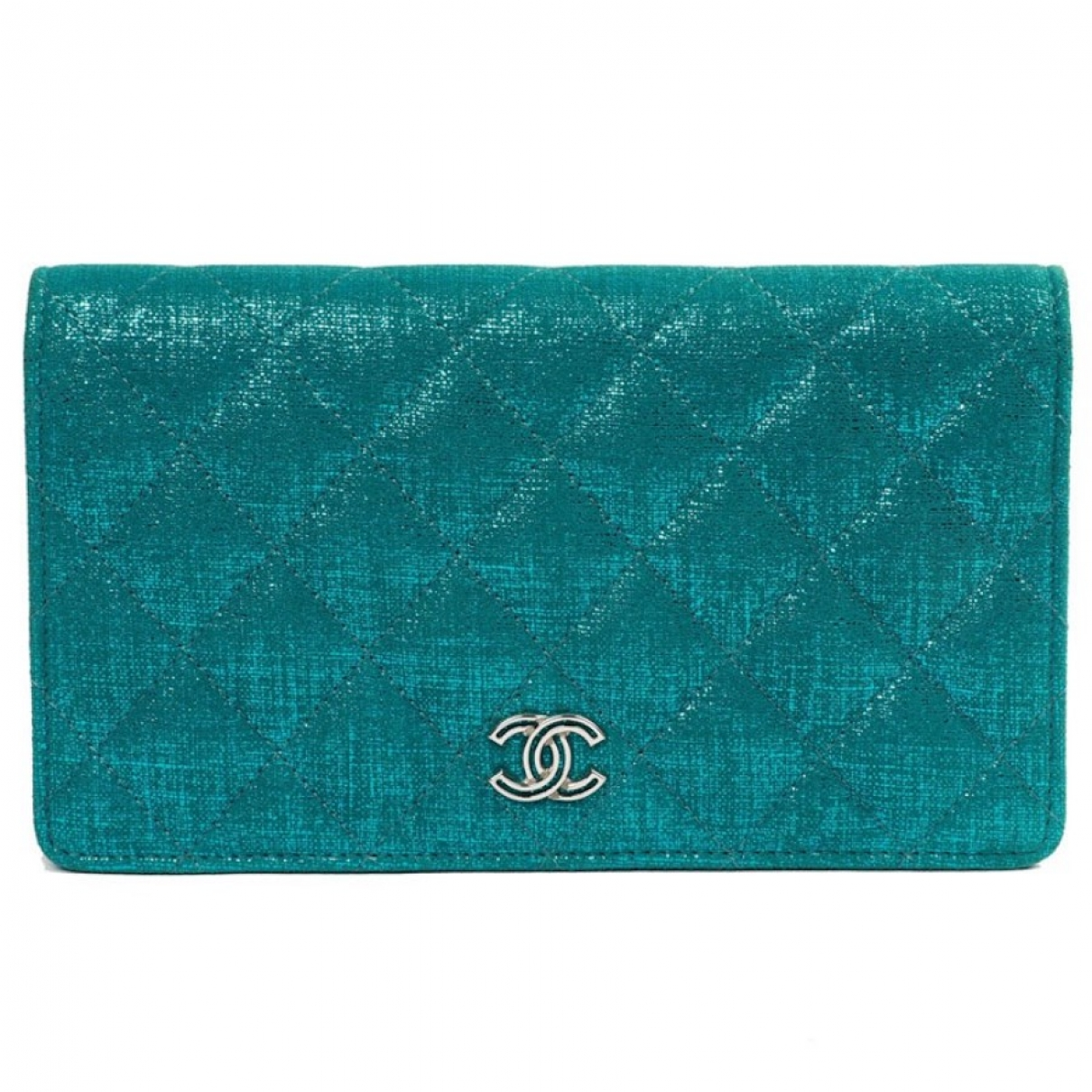 Chanel Timeless/Classique Turquoise Cloth wallet for Women \N