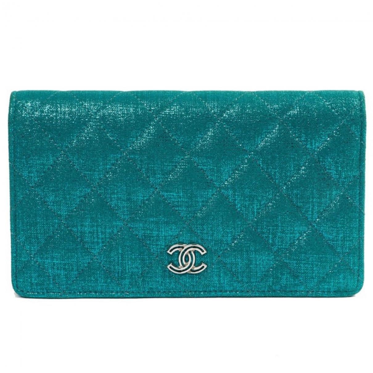 Chanel - Portefeuille Timeless/Classique pour femme en toile - turquoise