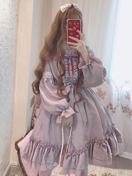 Milanoo Sweet Lolita OP Dress Provence Lavender Ruffle Bow Lolita One Piece Dress