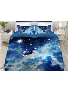 A Spaceship Bound For The Moon In Galaxy Soft 3D Printed 4-Piece Polyester Bedding Sets/Duvet Covers