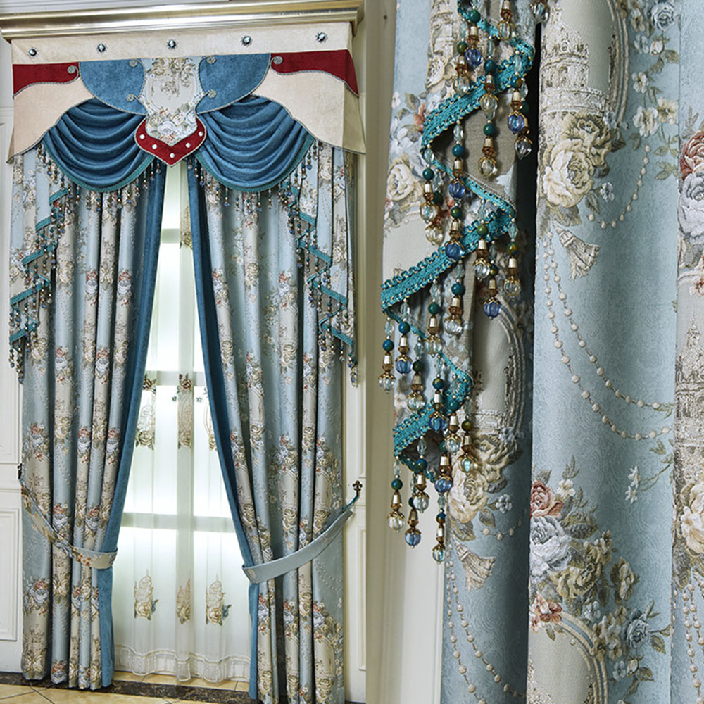 European Luxury Jacquard Chenille Blackout Grommet Curtains Custom 2 Panels Drapes for Living Room No Pilling No Fading No off-lining