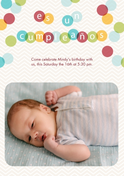 Kids Birthday Party Invites 5x7 Cards, Premium Cardstock 120lb with Rounded Corners, Card & Stationery -Spanish - Colorful Confetti