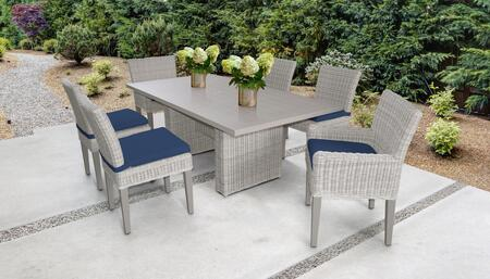Coast Collection COAST-DTREC-KIT-4ADC2DCC-NAVY Patio Dining Set With 1 Table  4 Side Chairs  2 Arm Chairs - Beige and Navy