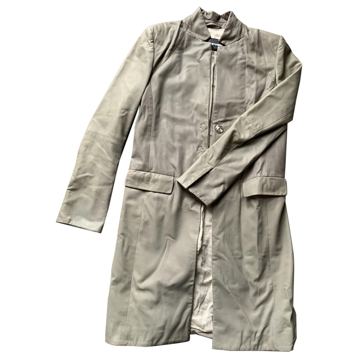 Emporio Armani \N Grey Leather coat for Women 40 IT