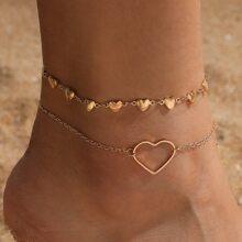 2pcs Heart Decor Anklet