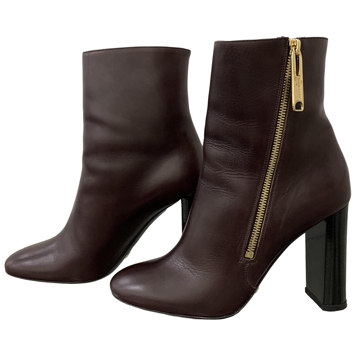 Burberry - Bottes   pour femme en cuir - bordeaux