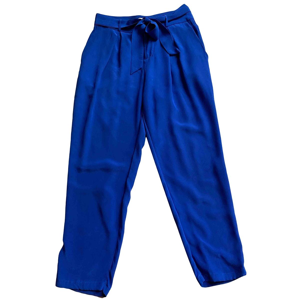 Joie \N Blue Silk Trousers for Women 2 US