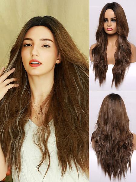 Milanoo Peluca larga Mujer Rizado Fibra resistente al calor Destacando Pelucas de cabello
