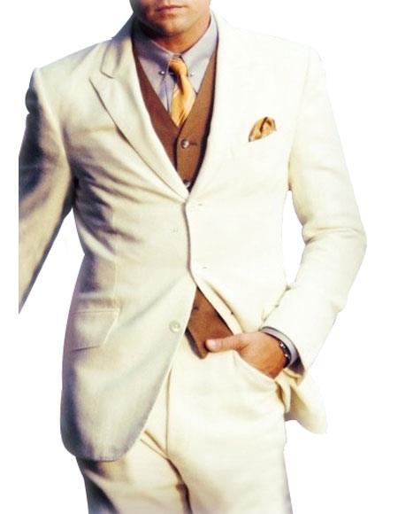 Men's Single Breasted 3 Button Peak Lapel Side Vents White Suit