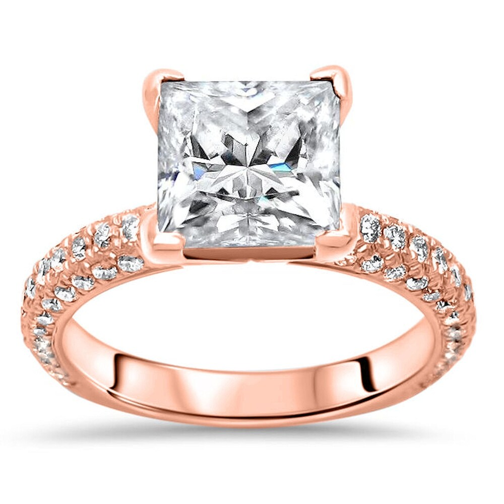 14k Rose Gold 2.0ct Princess Cut Moissanite and 3/4ct Pave Diamond Engagement Ring (8)
