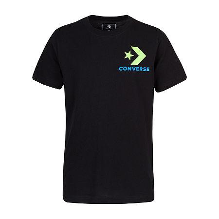Converse Big Boys Crew Neck Short Sleeve Graphic T-Shirt, Small (8) , Black