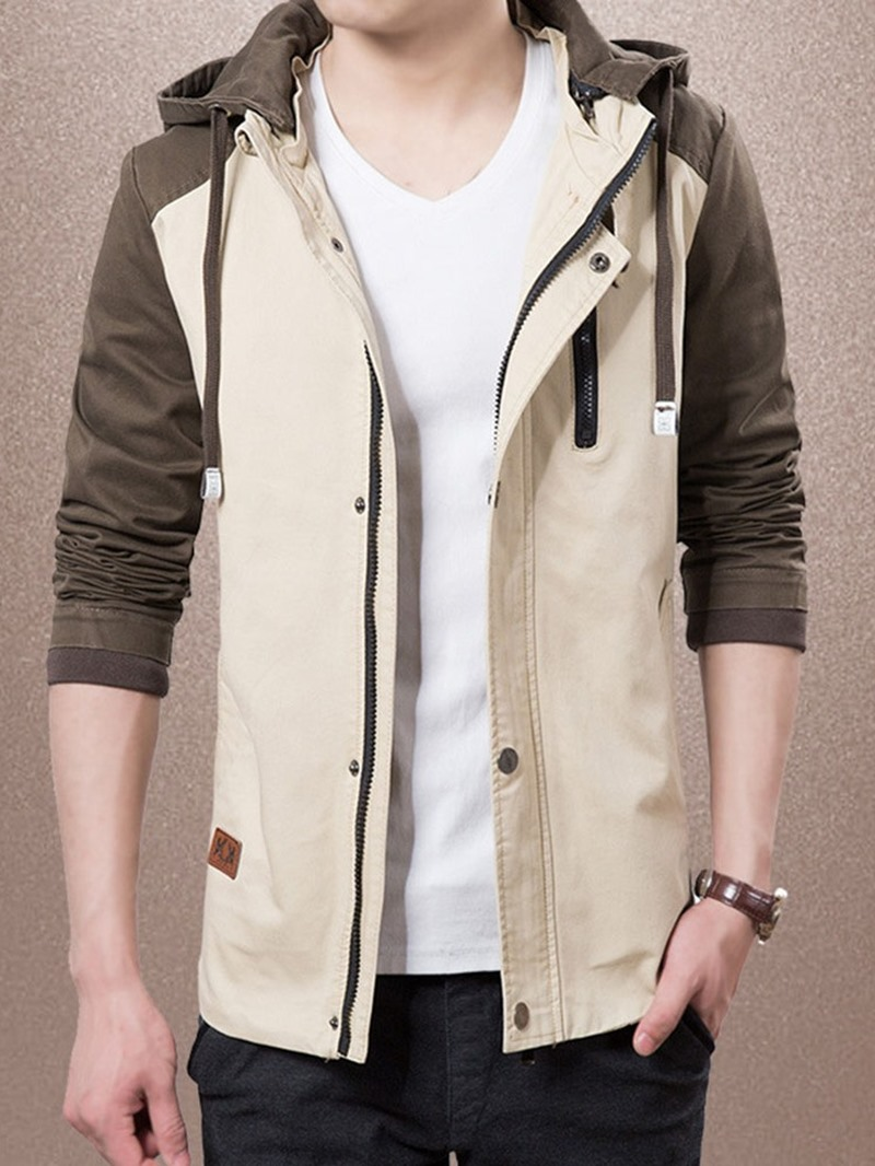 Ericdress Color Block Thin Hooded Slim Casual Jacket