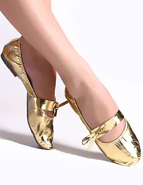 Milanoo Zapatos de baile oro cuero