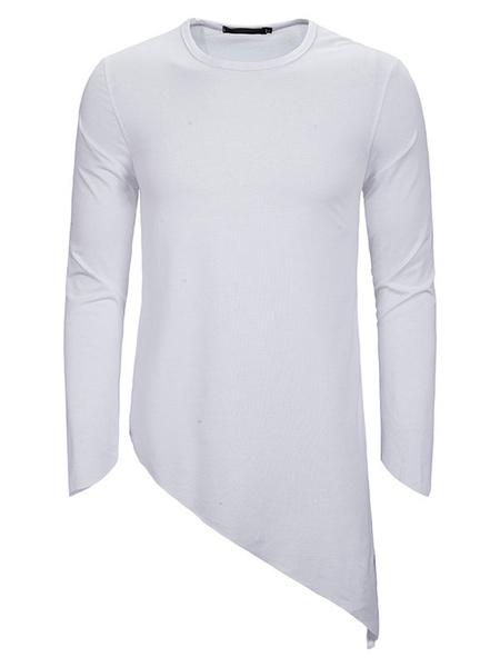 Milanoo Men\'s Shirt Jewel Neck Long Sleeves Crewneck Casual Iregular Hem Slim Fit Shirt
