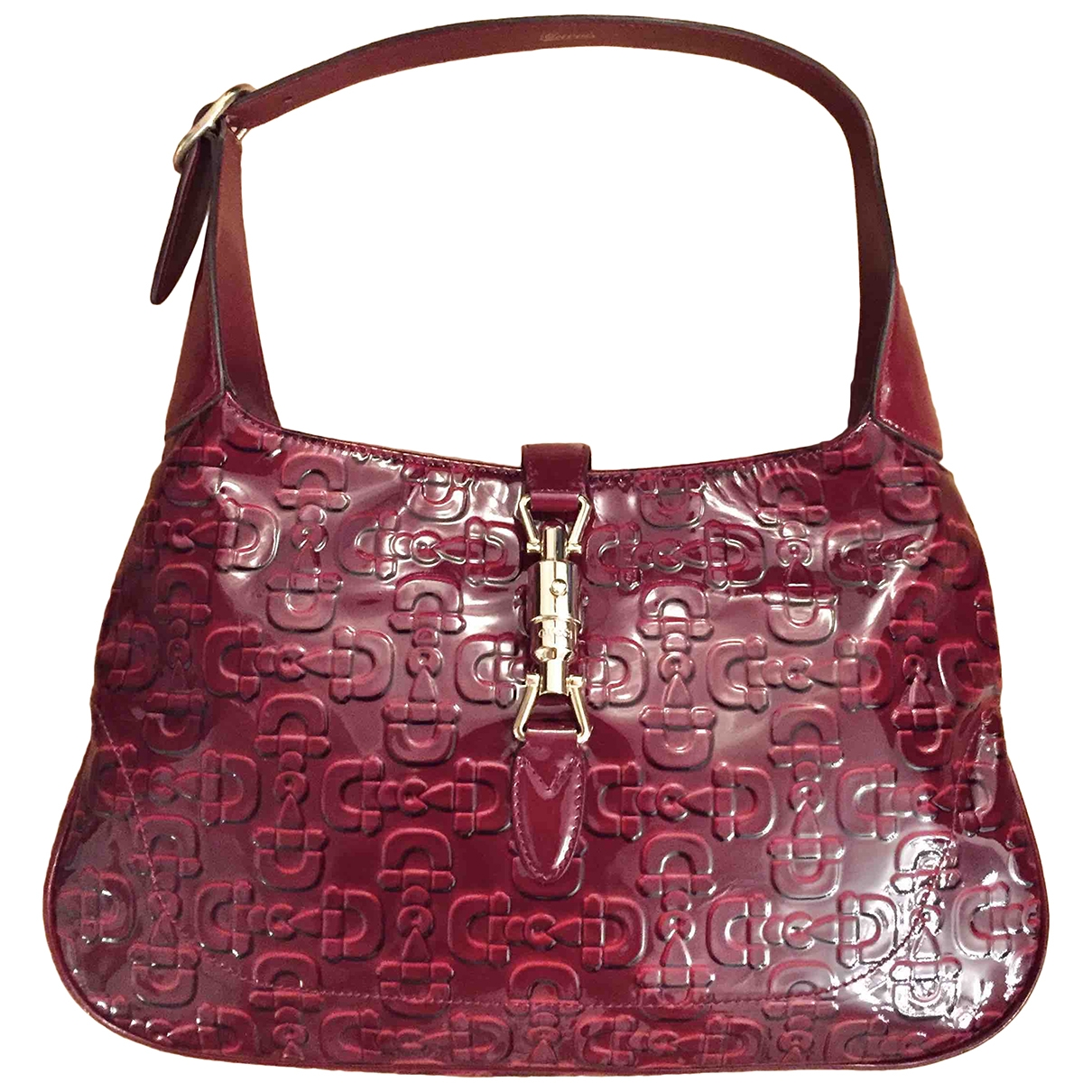 Gucci - Sac a main Jackie Vintage  pour femme en cuir verni - bordeaux