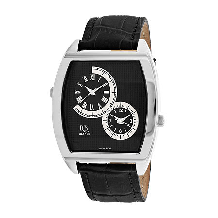 Roberto Bianci Mens Black Leather Strap Watch-Rb0741, One Size , No Color Family