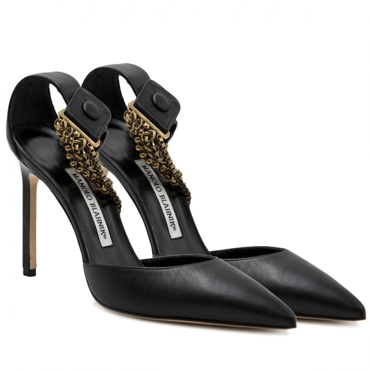 Manolo Blahnik \N Black Leather Sandals for Women 37.5 EU