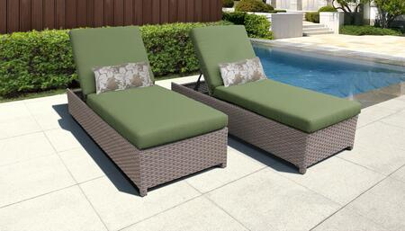 Florence Collection FLORENCE-W-2x-CILANTRO Set of 2 Chaises - Grey and Cilantro
