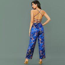 Lace Up Backless Floral Jacquard Jumpsuit