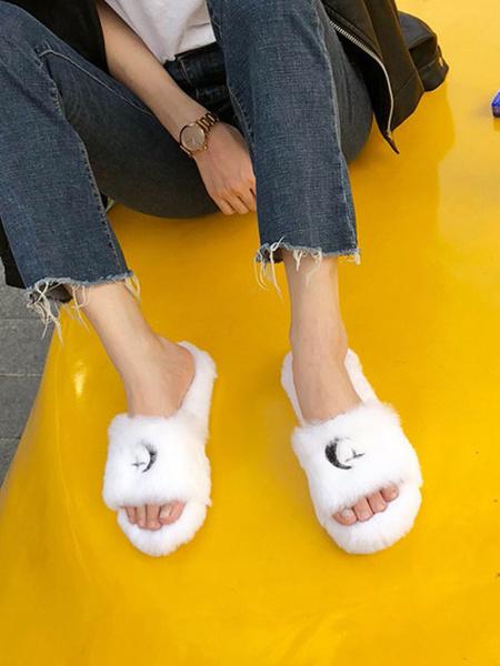 Milanoo Zapatillas de invierno para mujer, zapatos deslizantes de piel sintetica con punta abierta negra