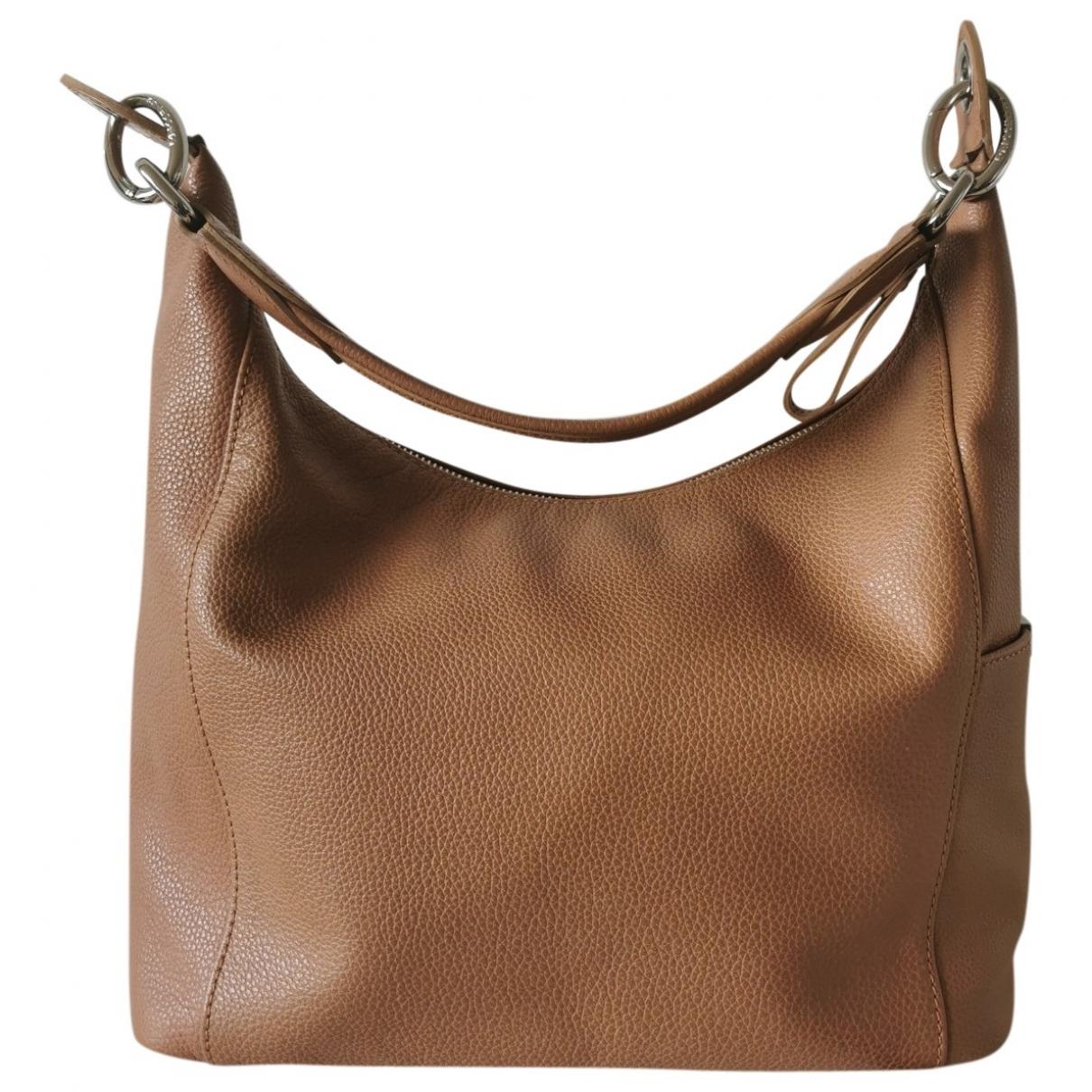 Longchamp - Sac a main   pour femme en cuir - camel