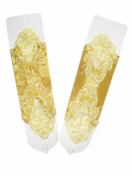 Milanoo Wedding Gloves Beaded Fingerless Elbow Length Bridal Gloves