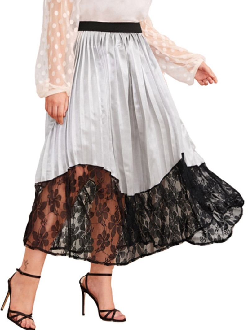 Ericdress A-Line Lace Mid-Calf Travel Look Skirt