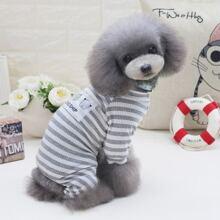 1 pieza pijama de perro de rayas