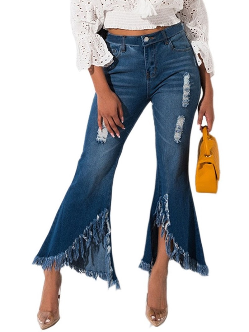 Ericdress Plain Hole Bellbottoms Slim Mid Waist Jeans