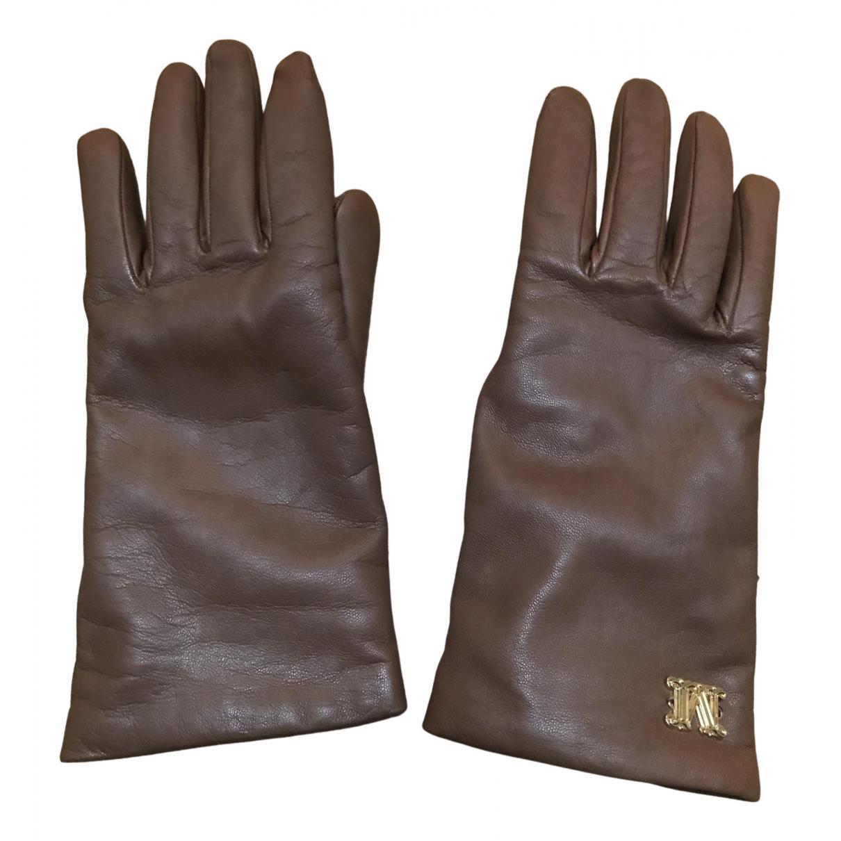 Max Mara \N Handschuhe in  Braun Leder