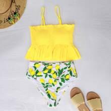 Smocked Random Lemon Print Ruffle Bikini Swimsuit