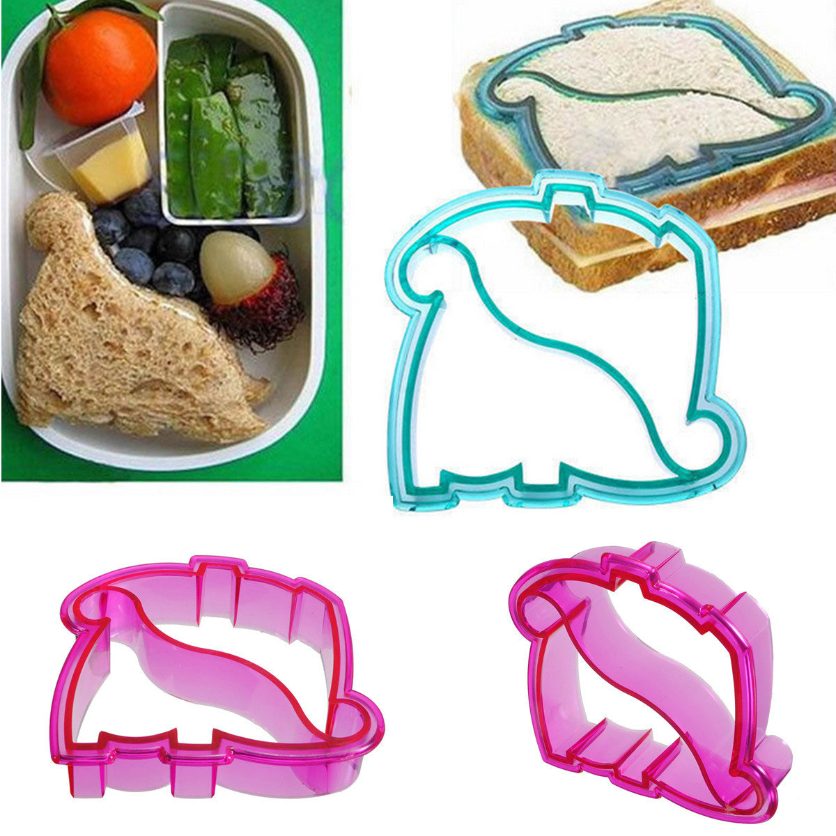Kids Lunch Sandwich Toast Cookies Bread Cake Biscuit Food Cutter Dinosaur Mold