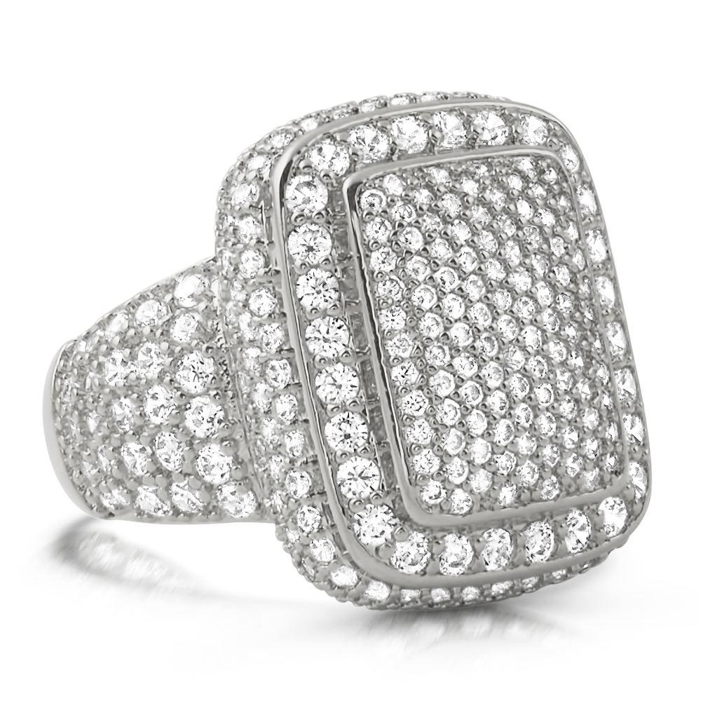 Cocktail Chunky Ice Bling Bling CZ Mens Ring in Rhodium