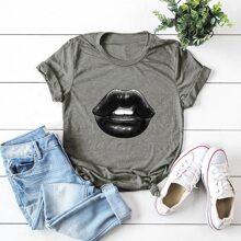 Ubergrosses T-Shirt mit Lippe Muster und kurzen Ärmeln