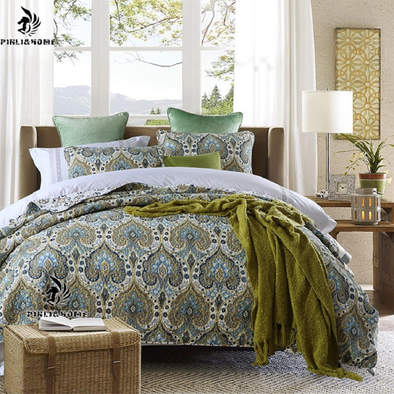 Floral and Mandala Pattern Ethnic Style Blue 3-Piece Bed in a Bag