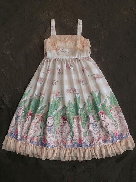 Milanoo Sweet Lolita JSK Dress Pink Sleeveless Ruffles Printed Lolita Jumper Skirts