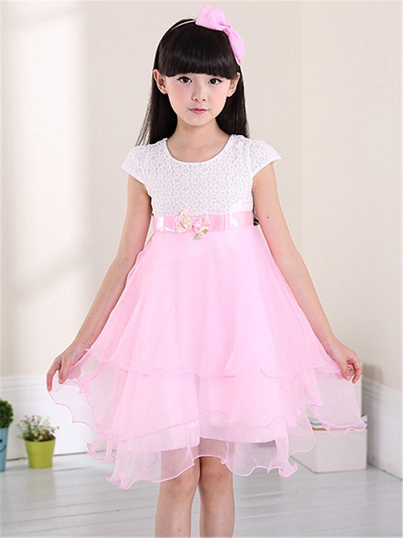Ericdress Patchwork Short Sleeve Color Block Girls Dress
