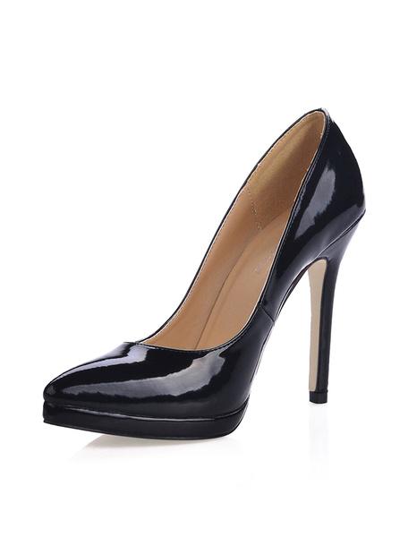 Milanoo Zapatos De Tacones Altos Negros Punta Puntiaguda Sin Cordones Zapatos De Vestir