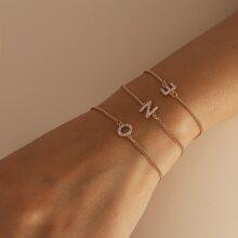 3 Stuecke Armband mit Strass