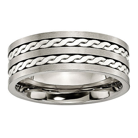 Personalized Mens 8mm Titanium & Sterling Silver Braided Inlay Wedding Band, 14 , No Color Family