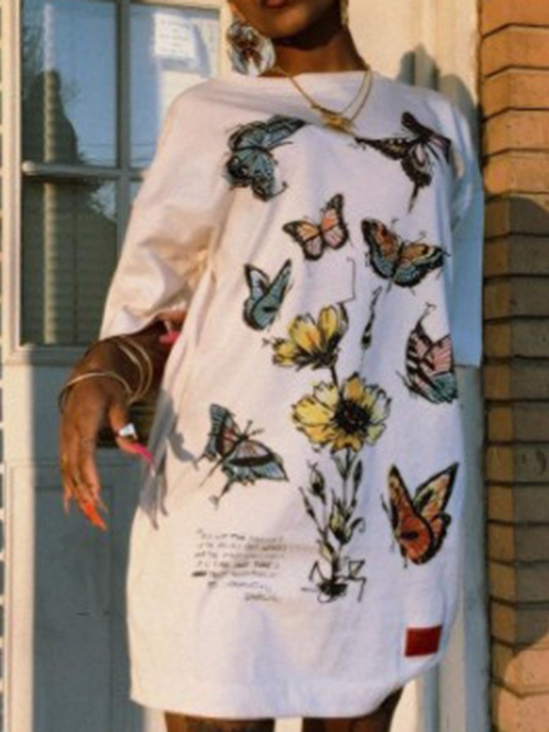 Ericdress Print Above Knee Round Neck High Waist A-Line Dress